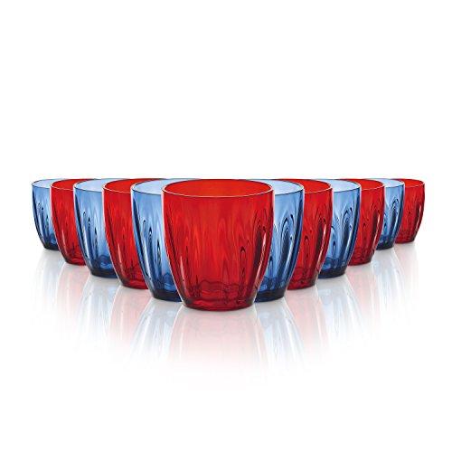 Tivoli Aqua Gläser / 350 ml / Bruchsichere Gläser / Hergestellt aus Acryl / Wasser, Rote Weingläser / BPA Frei / 12-teiliges Set / In Blau und Rot (Wasser Sparen, Bier Trinken)