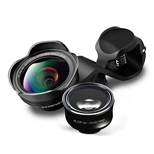 Handy Objektiv, GLISTENY 3 in 1 5K HD Kameraobjektiv Objektiv Set Super Weitwinkelobjektive Clip-On-Objektive für 8/7/6/6s Plus/5s/SE, Samsung S9-S6 Huawei iPad Pro Sony und andere Smartphones - Iphone-add-on-linsen