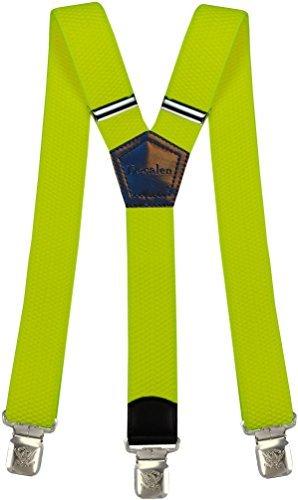 Hosenträger für Herren breit extra starken 4 cm mit 3er Clips Y-Form lange für Männer und Damen Hose alle Farben (Neon Gelb)