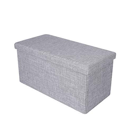 MLJ Sitzbank mit Stauraum Aufbewahrungsbox Fußablage faltbar Polsterbank Sitzbox (Deutschland Lagerhaus) (hellgrau, 76 x 38 x 38 cm)