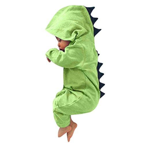 KOLY Neonato Rompicapo con cappuccio Ragazza del Outfits tuta Abiti Romper Hooded vestiti Costume del dinosauro di Halloween con cappuccio triangolo pagliaccetto Attrezzatura Hooded (Size:12M, Green)