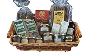 Geschenkkorb Schokoladen-King mit Schokoladennudeln, Schokoladensenf, Kakaobohnen, Schokoladensalz, Schokoladencremes, Trinkschokolade, Schokoladentafeln, -marmelade und -honig
