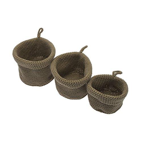 Frandis 192374 juego de 3 cestas para baños polipropileno trenzado arena rejilla de ventilación redonda de 16,5 x 10 cm