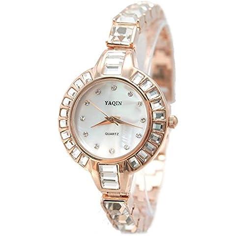 ITFW864A nuovo round Rose Gold Tone cassa dell'orologio quadrante bianco delle donne delle signore braccialetto di vigilanza