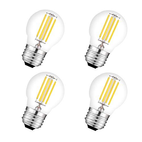 Bombilla LED G45 E27 Filamento 4W Equivalencia 40W,450Lm Cristal Vintage,Mini Bombilla Globo Regulable,Blanco Cálido 2700K 4 Unidades