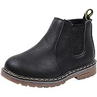 Chaussures pour Garçon, fille d'hiver, Moonuy EU 21-36 Size /Automne hiver enfants mode anti-Slip Martin Sneaker Short bottes en cuir Chaussures occasionnelles imperméables