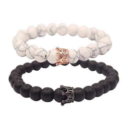JINNUO König & Königin Krone Distanz Paar Armbänder Seine und Ihre Freundschaft 8mm Perlen Armband (White/Black) - Königin-könig-speicher