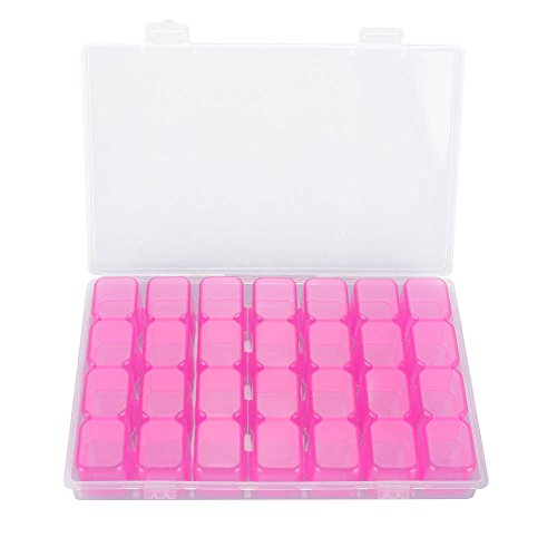 Nosii 2 Farben 28 Slots Leere Klar Nail Art Dekoration Strass Edelstein Perle Container Aufbewahrungsbox (Color : Purple) -