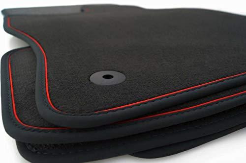 kh Teile Fußmatten Q5 SQ5 S-Line (Zierband Rot) Premium Original Qualität Velours 4-teilig Set