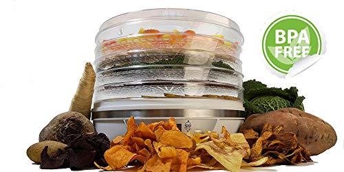 Patentierter Dörrautomat • Dörrgerät mit Temperaturregler • Digitaler Timer • BPA-frei • 5 Etagen • energiesparende 350W • Rezeptheft • Bestens geeignet für Gemüse, Obst und Fleisch • rund • weiß