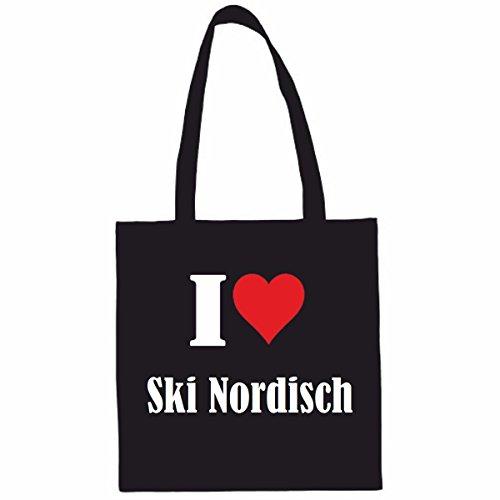 Sac à Bandoulière I Love Ski Nordisch Shopping Bag Sac d'école Sac de Sport 38x 42cm en Noir ou Blanc.. Le cadeau parfait pour votre amoureux
