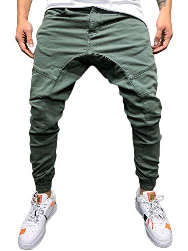 Tomwell Homme Pantalon Casual Cargo Chino Jeans Sport Jogging Slim Fit Pantalon Long Pants Vert XX-Large