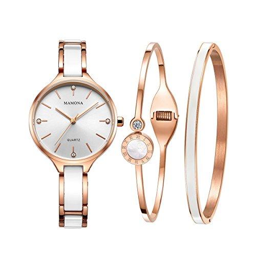 MAMONA Damen Uhr Analog Quarz mit Edelstahl Armband Keramik Uhrenset 30 Meter Wasserdicht 3877LRGT (Weiße)