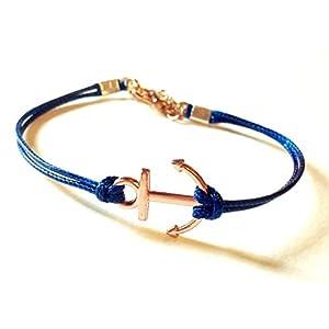 Anker Freundschafts Wachsarmband blau/rosegolde, 16-17cm, handmade