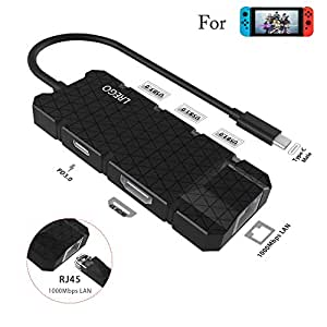 StarPlayer 6 in 1 Hub Type C con 1 Gbps Ethernet per Nintendo Switch con 4K HDMI, USB C PD 3.0, 3 USB 3.0 per Nintendo Switch, Samsung S8 / S9, MacBook