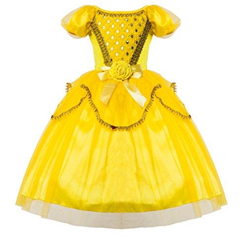 (AOGD Mädchen Prinzessin Kleid Blumenmädchen Kleid Mädchen Prinzessin Europa und Amerika Europäischen Halloween Gelb Schönheit Prinzessin Kostüm Garten Kleid Rock)