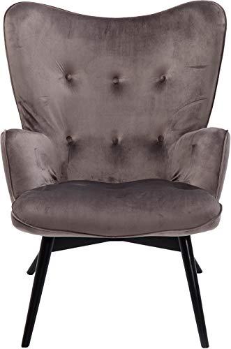 KARE Design Sessel Vicky 82608 mit Armlehnen, Ohrensessel mit Samt Bezug, Polstersessel in Grau, Pflegeleichte Oberfläche, Füße aus massiver Buche lackiert, 59x63x92cm