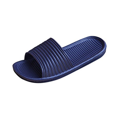 VovotradeSlippersVovotrade Man Stripe Flat Bath Slippers Summer Sandals Indoor & Outdoor Slippers (US11.5 Navy)