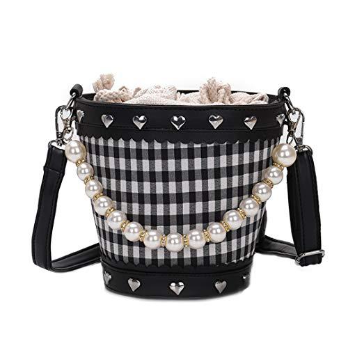 Mode Frauen pu Handtasche perlenkette umhängetasche Sommer Eimer Tasche Frauen Strandtasche Black