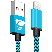 iPhone Charger Cable Aione iPhone Cable 1m/3.3ft Nylon Braided Phone Chargers Fast Charging Cable Compatible with iPhone Xs Max X XR 8 8Plus 7 6 6s 6 Plus SE 5 5s 5c,iPad, iPod-Blue