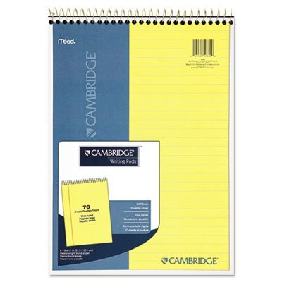 Premium Wirebound Legal Pad, Legal Rule, 8 7/8 x 11, Canary Paper, 70 Sheets, Sold as 1 Each by Cambridge