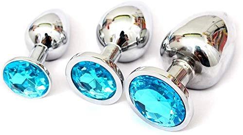 Joyas 3PCS Acero inoxidable Stee Ànâles-Plúg Set-Jewelry Diamond Àmàl Didos B-ütt Back Personal Massage Saxx Juguete para mujeres Parejas Juego de cosplay (Oro)-Cielo azul