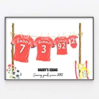 Football Shirt Family Print Personalised Wall Art Gift A4 or A3