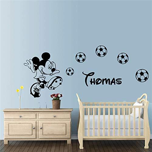 all Cartoon Maus personalisiert Name Wandkunst Schlafzimmer Aufkleber Kindergarten Kinder Wohnen Dekoration Wandaufkleber rot 140 x 58 cm ()