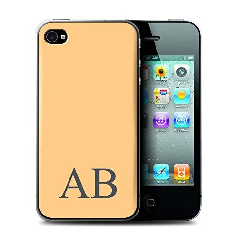 Personalisiert Pastell Monogramm Hülle für Apple iPhone 4/4S / Elfenbein Design / Initiale/Name/Text Schutzhülle/Case/Etui Orange