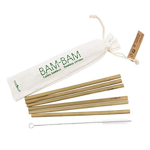 Cookut BAM AM BAM Trinkhalme, wiederverwendbar, 100% natürlicher Bambus, aus nachhaltig bewirtschafteten Wäldern
