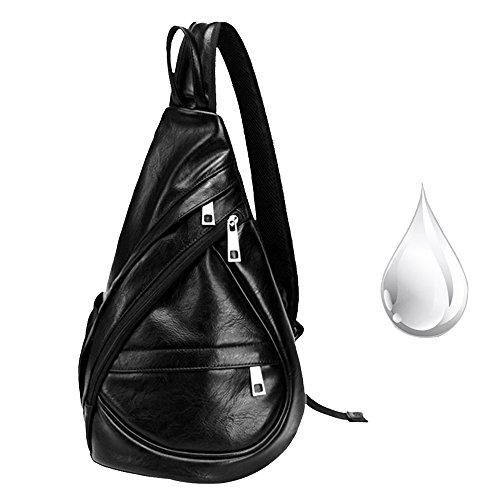 Imagen de pecho  cuero sinokal bolso pecho casual bandolera hombro triángulo paquetes daypacks para hombres mujeres sling bolsa de carga para el deporte al aire libre gimnasio viajes senderismo negro