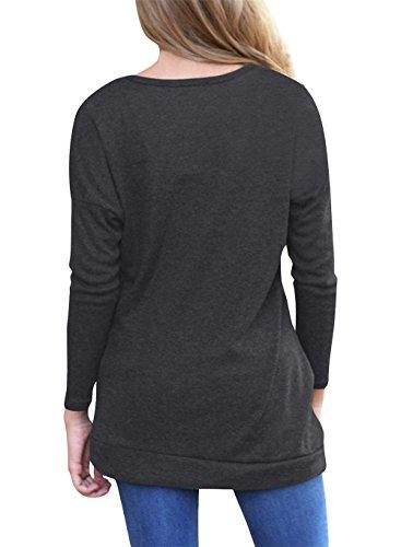 Rangeyes Donna Primavera Autunno Jumper Pullover Camicie T-Shirt di Colore Solido a Manica Lunga Girocollo Bluse Sottile Casual Folds Maglietta con Pulsanti Maglie Tops Nero