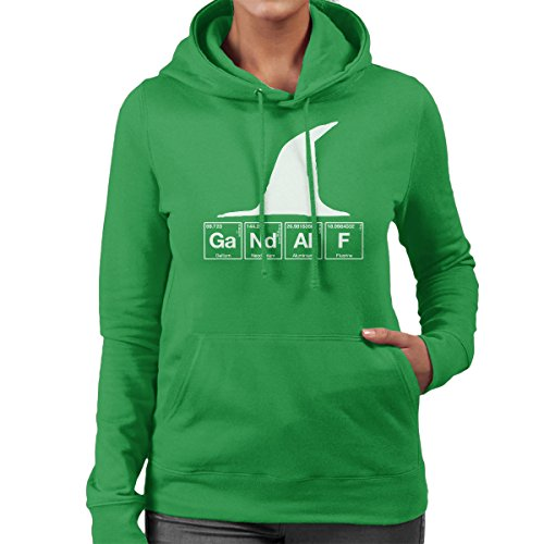 Gandalf Chemical Symbols Lord Of The Rings Women's Hooded Sweatshirt Kelly Green