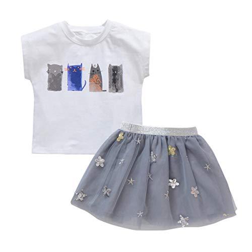 Baby Mädchen Sommer Kleidung Kurzarm Hemd Mesh Bubble Tutu Rock Sunsuit 2-7Y (Color : Grey, Size : 5-6Y) Bubble Sunsuit