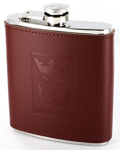 MAJESTIC Flachmann / Edelstahl-Taschenflasche mit Echt-Leder, Braun / Hochwertiger Schraubverschluss / Stylische-Trinkflasche / 200ml, 7oz