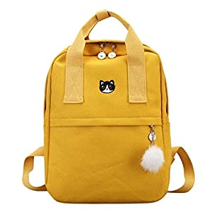 Mochila OneMoreT para mujer, para la escuela, adolescentes, niñas, estilo vintage, para la escuela, mujer, lona, mochila de tela, amarillo