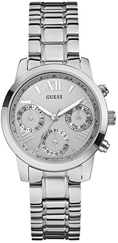 Guess Women's Quartz Watch with Black Dial Analogue Display Quartz Stainless Steel W0448L1