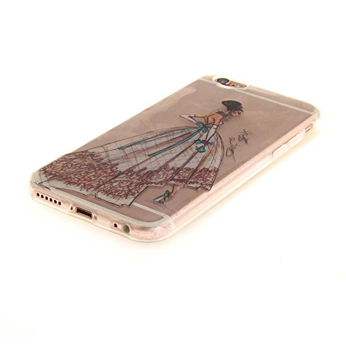 Custodia Case per Apple iPhone 6 Plus 6S Plus 5.5 Delicato Disegno Albero Nero Slim Trasparente Soft TPU Gel colore17