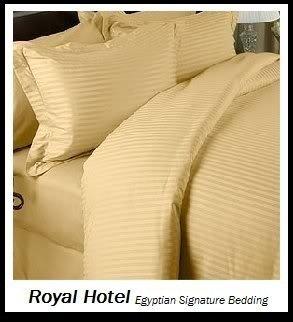 Royal Hotel Baumwollmischung faltenfrei Blatt 650-thread-count Streifen-Bettlaken-Set California King Gold (Cal-king-bett-blätter)
