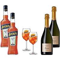 Vin blanc - Pack Apérol Spritz - Apérol 1 L x2 - Prosecco Ricadonna 75 cl x2 - Verres a Spritz x2