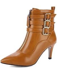 Easemax Damen Modern Pointed Toe Riemen Zipper Kurzschaft Stilettos Pumps Stiefel