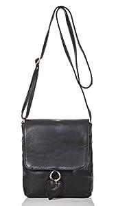 italienische Damen Umhängetasche München aus echtem Leder in tief schwarz, Made in Italy, Handtasche 19x20 cm