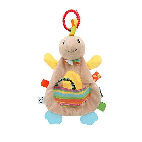 YaptheS Beschwichtigen Tuch Spielzeug, nettes Karikatur-füllte Plüsch-Puppe Comfort Handtuch Beißring Spielzeug für Baby-Neugeborene Kind-Schildkröte - Tuch Baby Puppe
