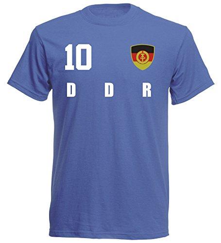 DDR Deutschland WM 2018 T-Shirt Trikot Style - Blau ALL-10 - S M L XL XXL (XL)