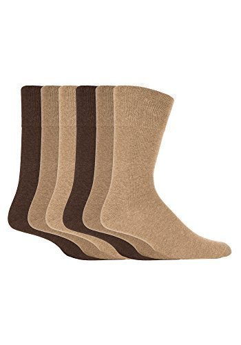 6 Pairs men's gentle grip no elastic socks 6-11 uk, 39-45 eur Plain Beige Brown MGG103