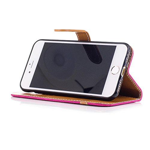 Custodia per Apple iPhone 7, ISAKEN iPhone 7 Flip Cover con Strap, Elegante Bookstyle Contrasto Collare PU Pelle Case Cover Protettiva Flip Portafoglio Custodia Protezione Caso con Supporto di Stand / Marrone+roseo