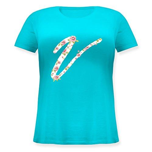 Anfangsbuchstaben - V Rosen - Lockeres Damen-Shirt in großen Größen mit Rundhalsausschnitt Türkis