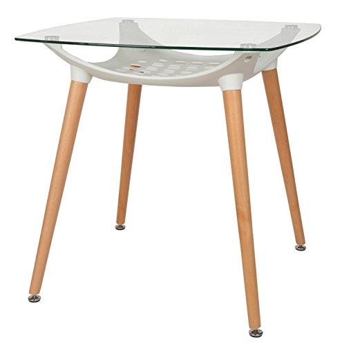 ts-ideen Diseño Mesa Vidrio Templado de 8 mm Comedor Madera de Haya E