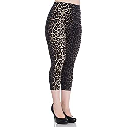 Pantalon legging capri leopardo panthera animal print 5453 Hell Bunny