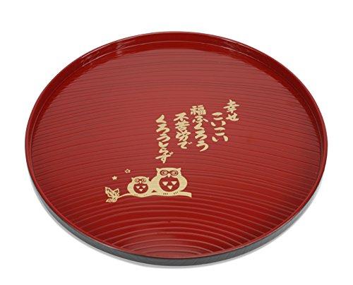Bandeja de servir de laca japonesa, diseño de búho roja, para Sushi Sashimi, juego de té o set de ensalada. Fabricado en Japón, y como se encuentra en muchos restaurantes japoneses. Parte superior de grano de madera simulada. Los bandejas son apilabl...